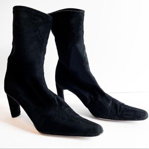 Suede Point Toe Sock Ankle Leather Bootie